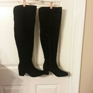 NIB BLACK Faux Suede Thigh-High Boots Size 7 M